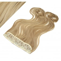 "24"" one piece full head clip in kanekalon weft extension wavy - mixed blonde"