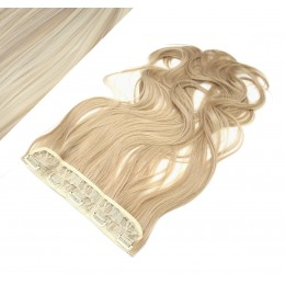"24"" one piece full head clip in kanekalon weft extension wavy - platinum / light brown"