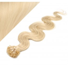 "20"" (50cm) Nail tip / U tip human hair pre bonded extensions wavy - the lightest blonde"