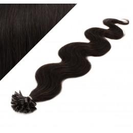 "24"" (60cm) Nail tip / U tip human hair pre bonded extensions wavy - natural black"