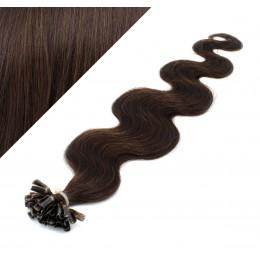 """24"""" (60cm) Nail tip / U tip human hair pre bonded extensions wavy - dark brown"""