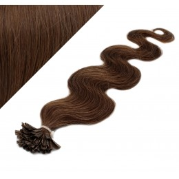 "24"" (60cm) Nail tip / U tip human hair pre bonded extensions wavy - medium brown"