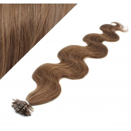 "24"" (60cm) Nail tip / U tip human hair pre bonded extensions wavy - medium light brown"