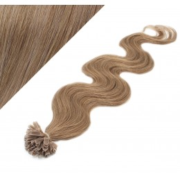 "24"" (60cm) Nail tip / U tip human hair pre bonded extensions wavy - light brown"