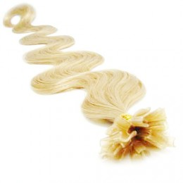 """24"""" (60cm) Nail tip / U tip human hair pre bonded extensions wavy - the lightest blonde"""