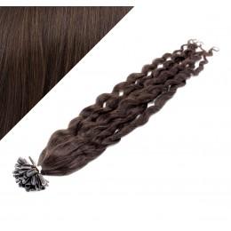 """20"""" (50cm) Nail tip / U tip human hair pre bonded extensions curly - dark brown"""