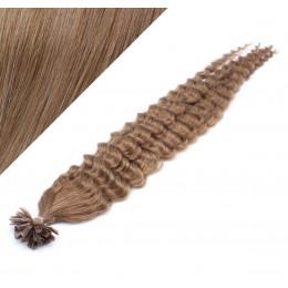 "20"" (50cm) Nail tip / U tip human hair pre bonded extensions curly - light brown"