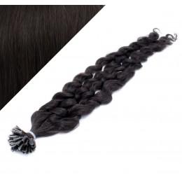 "24"" (60cm) Nail tip / U tip human hair pre bonded extensions curly - natural black"