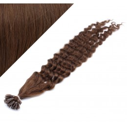 "24"" (60cm) Nail tip / U tip human hair pre bonded extensions curly - medium brown"