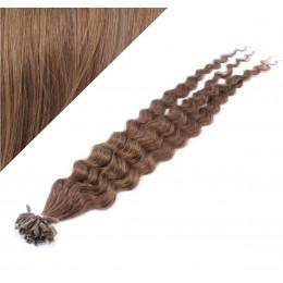 "24"" (60cm) Nail tip / U tip human hair pre bonded extensions curly - medium light brown"