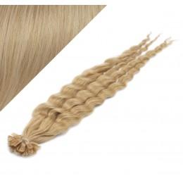 "24"" (60cm) Nail tip / U tip human hair pre bonded extensions curly - natural blonde"