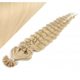 """24"""" (60cm) Nail tip / U tip human hair pre bonded extensions curly - the lightest blonde"""