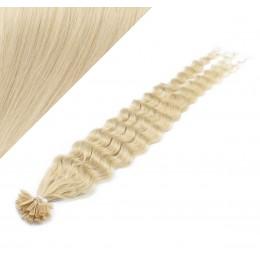 "24"" (60cm) Nail tip / U tip human hair pre bonded extensions curly - platinum blonde"