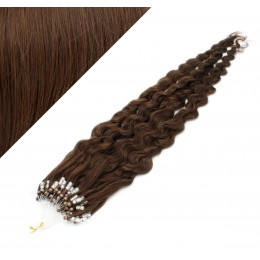 "20"" (50cm) Micro ring human hair extensions curly- medium brown"