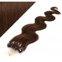 "24"" (60cm) Micro ring human hair extensions wavy - medium brown"