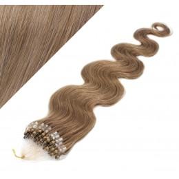 "24"" (60cm) Micro ring human hair extensions wavy - light brown"
