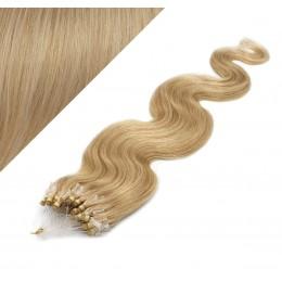"24"" (60cm) Micro ring human hair extensions wavy - natural blonde"