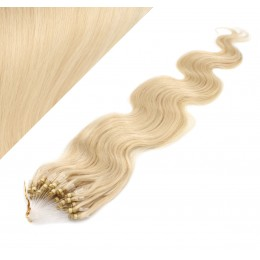 """24"""" (60cm) Micro ring human hair extensions wavy - the lightest blonde"""