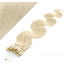 "24"" (60cm) Micro ring human hair extensions wavy - platinum blonde"