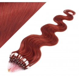 """24"""" (60cm) Micro ring human hair extensions wavy - copper red"""