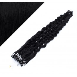 """24"""" (60cm) Micro ring human hair extensions curly - black"""