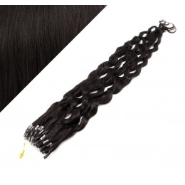 """24"""" (60cm) Micro ring human hair extensions curly - natural black"""