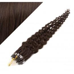 "24"" (60cm) Micro ring human hair extensions curly - dark brown"