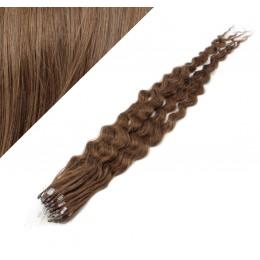 "24"" (60cm) Micro ring human hair extensions curly - medium light brown"