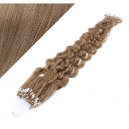 """24"""" (60cm) Micro ring human hair extensions curly - light brown"""