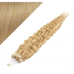 """24"""" (60cm) Micro ring human hair extensions curly - natural blonde"""