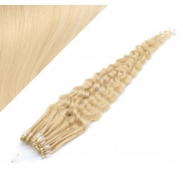 """24"""" (60cm) Micro ring human hair extensions curly - the lightest blonde"""