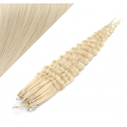 """24"""" (60cm) Micro ring human hair extensions curly - platinum blonde"""