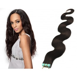 20˝ (50cm) Tape Hair / Tape IN human REMY hair wavy - natural black