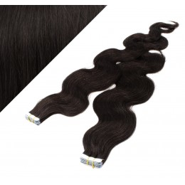 "20"" (50cm) Tape Hair / Tape IN human REMY hair wavy - natural black"