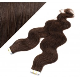 "20"" (50cm) Tape Hair / Tape IN human REMY hair wavy - dark brown"
