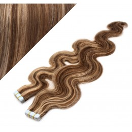 "20"" (50cm) Tape Hair / Tape IN human REMY hair wavy - dark brown / blonde"