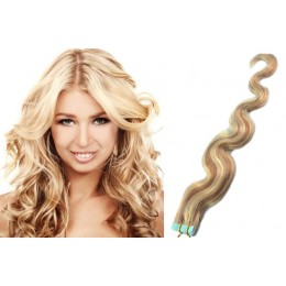 20˝ (50cm) Tape Hair / Tape IN human REMY hair wavy - platinum / light brown