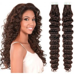 20˝ (50cm) Tape Hair / Tape IN human REMY hair curly - dark brown