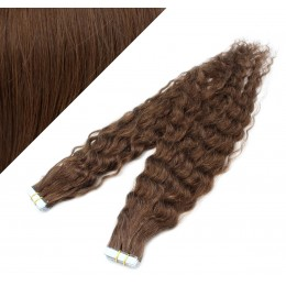 "20"" (50cm) Tape Hair / Tape IN human REMY hair curly - medium brown"