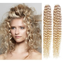 """20"""" (50cm) Tape Hair / Tape IN human REMY hair curly - platinum blonde"""