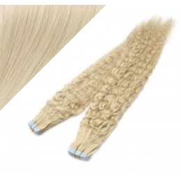 "20"" (50cm) Tape Hair / Tape IN human REMY hair curly - platinum blonde"
