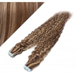 "20"" (50cm) Tape Hair / Tape IN human REMY hair curly - dark brown / blonde"