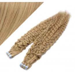 "20"" (50cm) Tape Hair / Tape IN human REMY hair curly - natural blonde / light blonde"