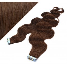 "24"" (60cm) Tape Hair / Tape IN human REMY hair wavy - medium brown"