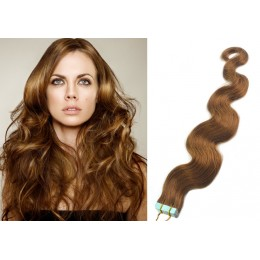 24˝ (60cm) Tape Hair / Tape IN human REMY hair wavy - light brown
