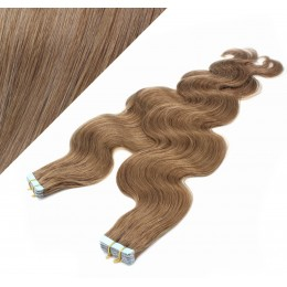 """24"""" (60cm) Tape Hair / Tape IN human REMY hair wavy - light brown"""