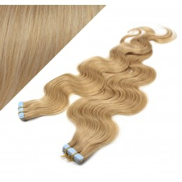 "24"" (60cm) Tape Hair / Tape IN human REMY hair wavy - natural blonde"