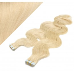"24"" (60cm) Tape Hair / Tape IN human REMY hair wavy - the lightest blonde"