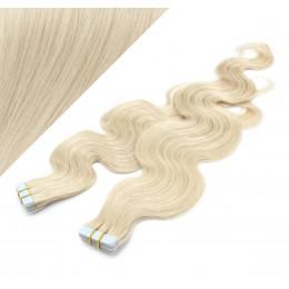 "24"" (60cm) Tape Hair / Tape IN human REMY hair wavy - platinum blonde"