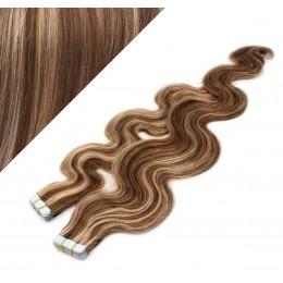 "24"" (60cm) Tape Hair / Tape IN human REMY hair wavy - dark brown / blonde"